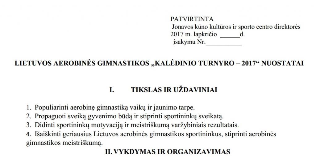 """""""KALĖDINIO TURNYRO – 2017"""" NUOSTATAI"""